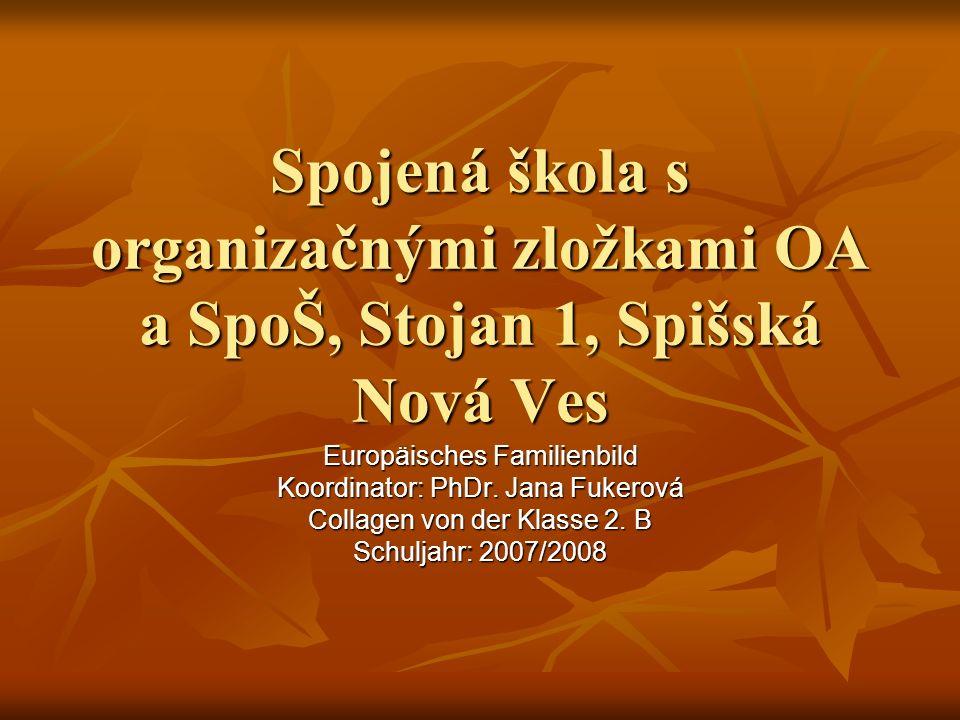 Spojená škola s organizačnými zložkami OA a SpoŠ, Stojan 1, Spišská Nová Ves Europäisches Familienbild Koordinator: PhDr.