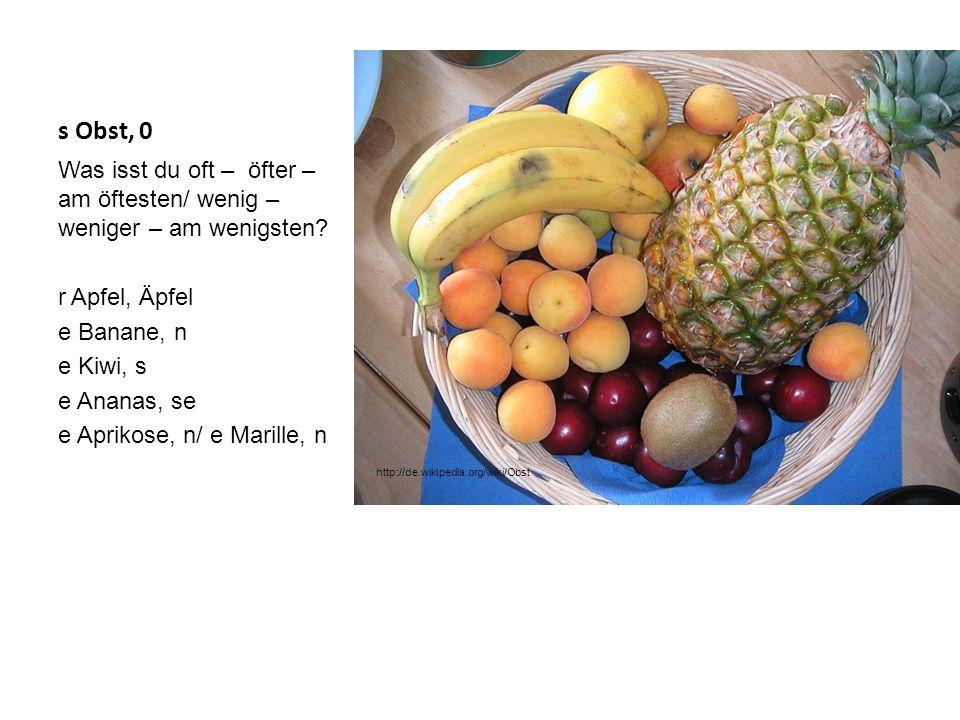 s Obst, 0 Was isst du oft – öfter – am öftesten/ wenig – weniger – am wenigsten? r Apfel, Äpfel e Banane, n e Kiwi, s e Ananas, se e Aprikose, n/ e Ma