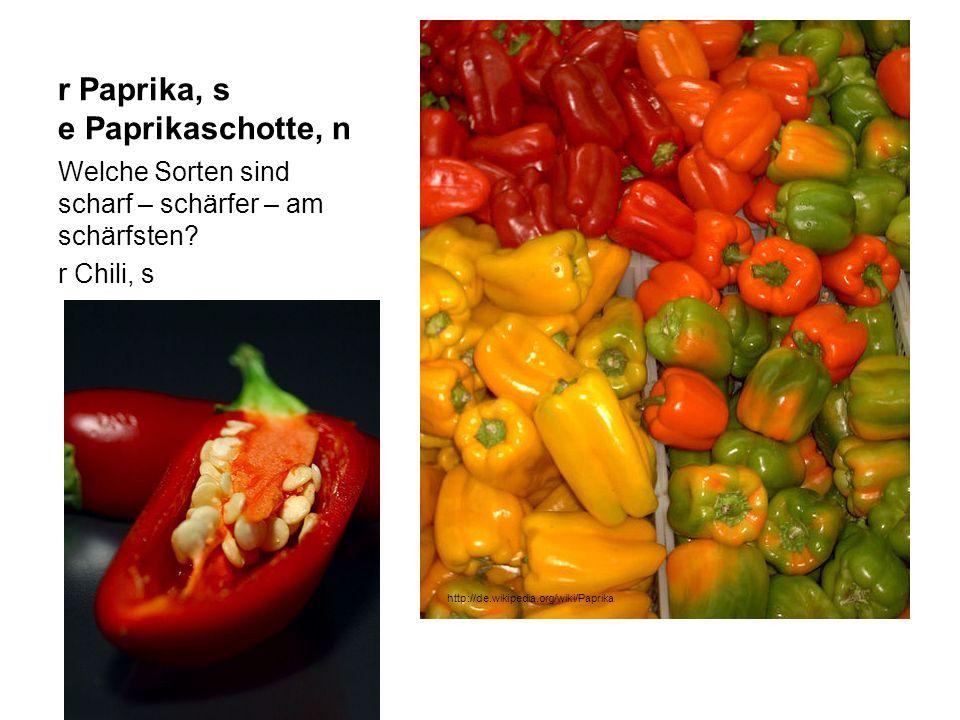 r Paprika, s e Paprikaschotte, n Welche Sorten sind scharf – schärfer – am schärfsten? r Chili, s http://de.wikipedia.org/wiki/Paprika