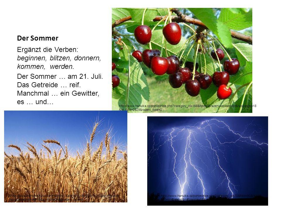 Der Sommer Ergänzt die Verben: beginnen, blitzen, donnern, kommen, werden. Der Sommer … am 21. Juli. Das Getreide … reif. Manchmal … ein Gewitter, es