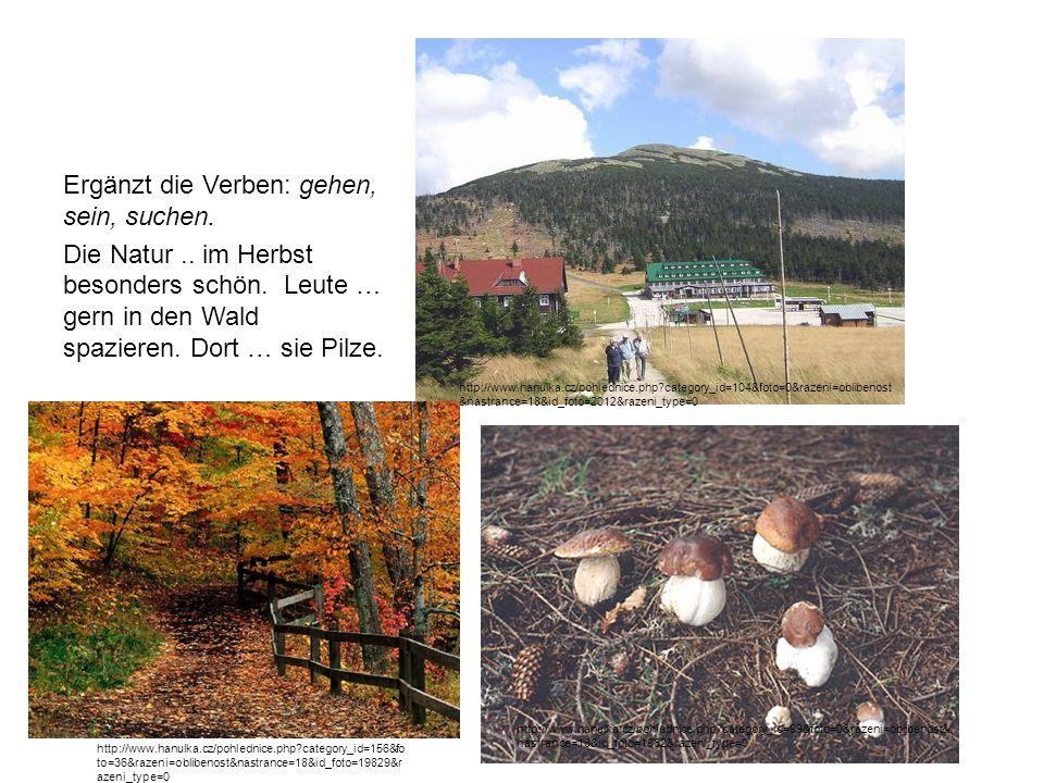 Ergänzt die Verben: gehen, sein, suchen. Die Natur.. im Herbst besonders schön. Leute … gern in den Wald spazieren. Dort … sie Pilze. http://www.hanul