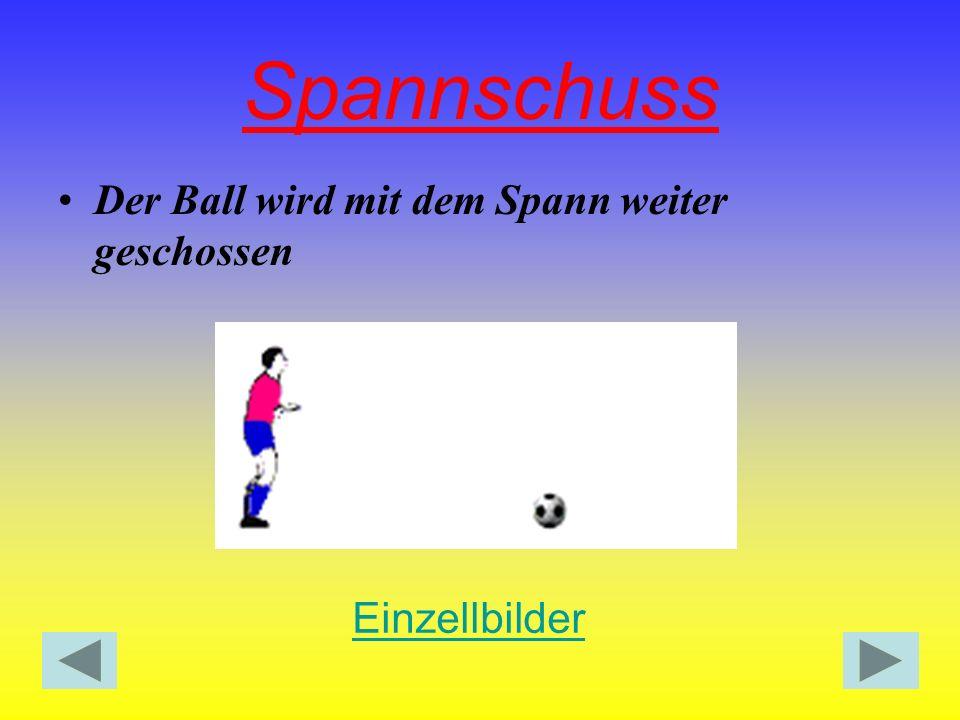 Spannschuss Der Ball wird mit dem Spann weiter geschossen Einzellbilder