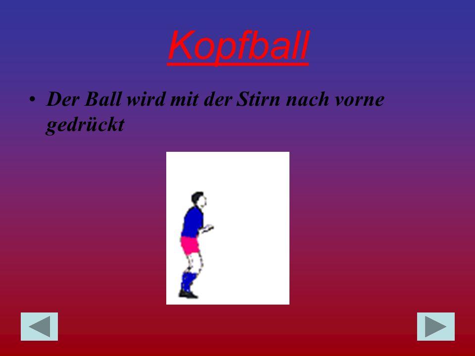 Kopfball Der Ball wird mit der Stirn nach vorne gedrückt