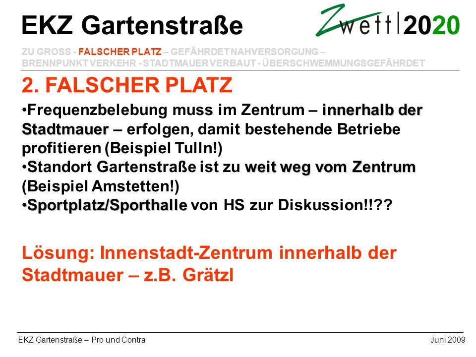20 EKZ Gartenstraße – Pro und ContraJuni 2009 2. FALSCHER PLATZ EKZ Gartenstraße ZU GROSS - FALSCHER PLATZ – GEFÄHRDET NAHVERSORGUNG – BRENNPUNKT VERK