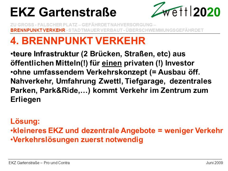 20 EKZ Gartenstraße – Pro und ContraJuni 2009 4. BRENNPUNKT VERKEHR EKZ Gartenstraße ZU GROSS - FALSCHER PLATZ – GEFÄHRDET NAHVERSORGUNG – BRENNPUNKT