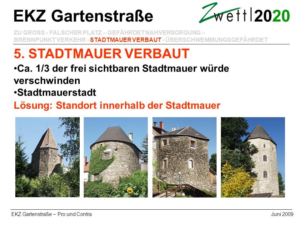 20 EKZ Gartenstraße – Pro und ContraJuni 2009 5. STADTMAUER VERBAUT EKZ Gartenstraße ZU GROSS - FALSCHER PLATZ – GEFÄHRDET NAHVERSORGUNG – BRENNPUNKT