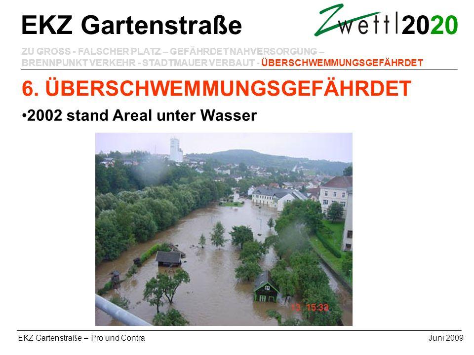20 EKZ Gartenstraße – Pro und ContraJuni 2009 EKZ Gartenstraße ZU GROSS - FALSCHER PLATZ – GEFÄHRDET NAHVERSORGUNG – BRENNPUNKT VERKEHR - STADTMAUER V
