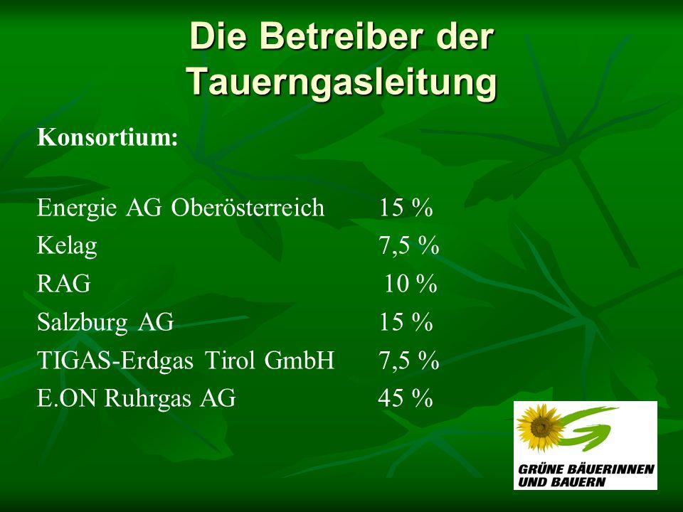 Die Betreiber der Tauerngasleitung Konsortium: Energie AG Oberösterreich 15 % Kelag 7,5 % RAG 10 % Salzburg AG 15 % TIGAS-Erdgas Tirol GmbH 7,5 % E.ON Ruhrgas AG 45 %