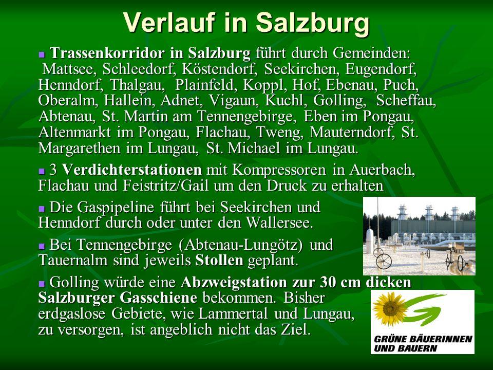 Verlauf in Salzburg Trassenkorridor in Salzburg führt durch Gemeinden: Mattsee, Schleedorf, Köstendorf, Seekirchen, Eugendorf, Henndorf, Thalgau, Plainfeld, Koppl, Hof, Ebenau, Puch, Oberalm, Hallein, Adnet, Vigaun, Kuchl, Golling, Scheffau, Abtenau, St.