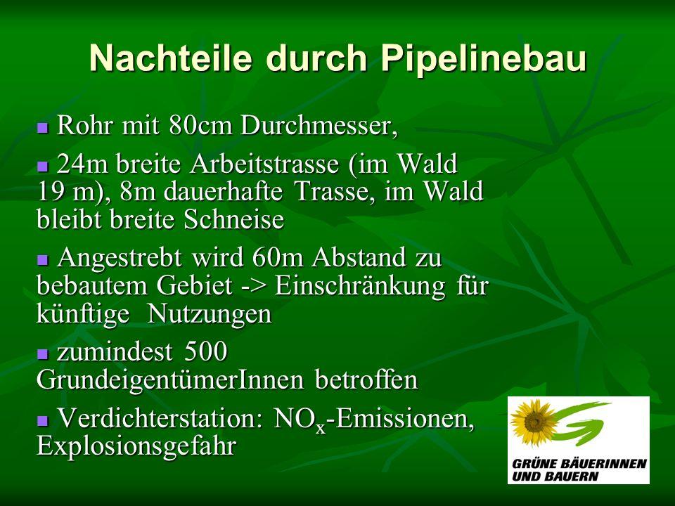 Nachteile durch Pipelinebau Rohr mit 80cm Durchmesser, Rohr mit 80cm Durchmesser, 24m breite Arbeitstrasse (im Wald 19 m), 8m dauerhafte Trasse, im Wa
