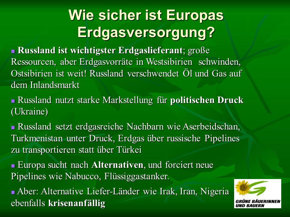 Wie sicher ist Europas Erdgasversorgung? Russland ist wichtigster Erdgaslieferant; große Ressourcen, aber Erdgasvorräte in Westsibirien schwinden, Ost