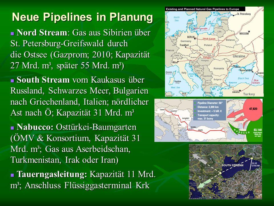 Neue Pipelines in Planung Nord Stream: Gas aus Sibirien über St. Petersburg-Greifswald durch die Ostsee (Gazprom; 2010; Kapazität 27 Mrd. m³, später 5