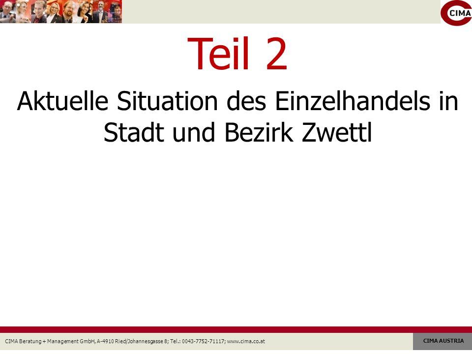 CIMA Beratung + Management GmbH, A-4910 Ried/Johannesgasse 8; Tel.: 0043-7752-71117; www.cima.co.at CIMA AUSTRIA Teil 2 Aktuelle Situation des Einzelhandels in Stadt und Bezirk Zwettl