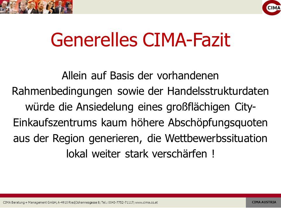 CIMA Beratung + Management GmbH, A-4910 Ried/Johannesgasse 8; Tel.: 0043-7752-71117; www.cima.co.at CIMA AUSTRIA Generelles CIMA-Fazit Allein auf Basis der vorhandenen Rahmenbedingungen sowie der Handelsstrukturdaten würde die Ansiedelung eines großflächigen City- Einkaufszentrums kaum höhere Abschöpfungsquoten aus der Region generieren, die Wettbewerbssituation lokal weiter stark verschärfen !
