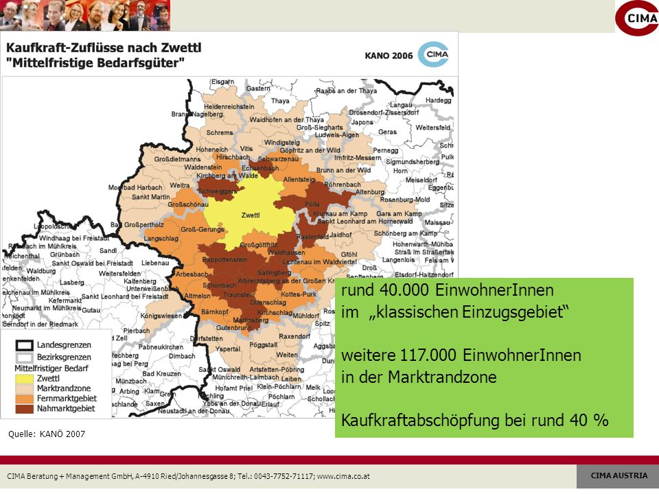 CIMA Beratung + Management GmbH, A-4910 Ried/Johannesgasse 8; Tel.: 0043-7752-71117; www.cima.co.at CIMA AUSTRIA rund 40.000 EinwohnerInnen im klassischen Einzugsgebiet weitere 117.000 EinwohnerInnen in der Marktrandzone Kaufkraftabschöpfung bei rund 40 % Quelle: KANÖ 2007