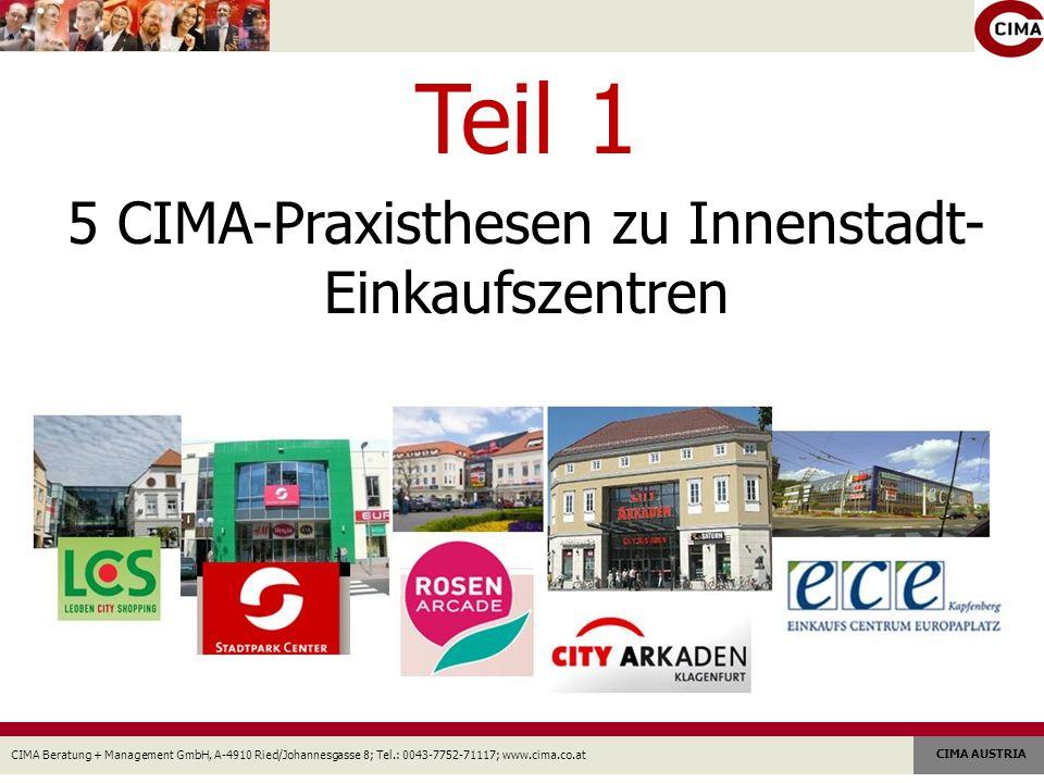 CIMA Beratung + Management GmbH, A-4910 Ried/Johannesgasse 8; Tel.: 0043-7752-71117; www.cima.co.at CIMA AUSTRIA Teil 1 5 CIMA-Praxisthesen zu Innenstadt- Einkaufszentren