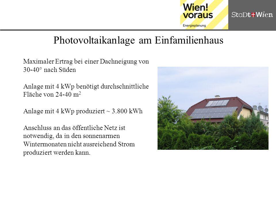 Photovoltaikanlage am Einfamilienhaus Maximaler Ertrag bei einer Dachneigung von 30-40° nach Süden Anlage mit 4 kWp benötigt durchschnittliche Fläche