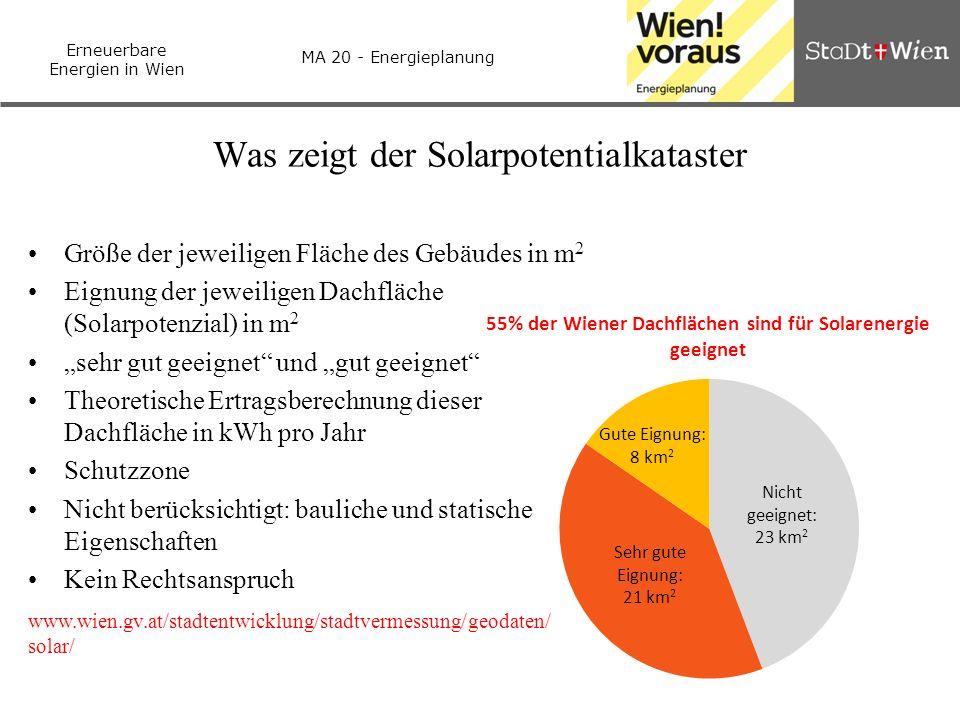 Erneuerbare Energien in Wien MA 20 - Energieplanung Was zeigt der Solarpotentialkataster Größe der jeweiligen Fläche des Gebäudes in m 2 Eignung der j