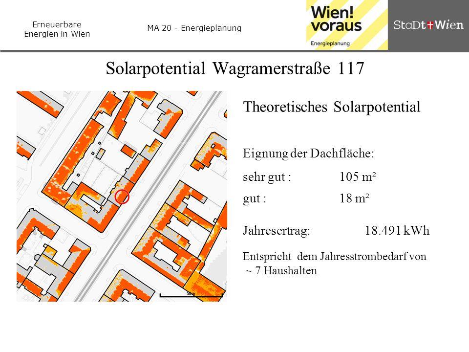Erneuerbare Energien in Wien MA 20 - Energieplanung Solarpotential Wagramerstraße 117 Theoretisches Solarpotential Eignung der Dachfläche: sehr gut :1