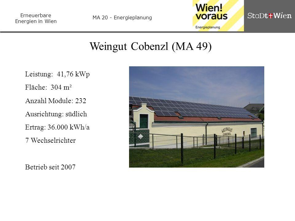 Erneuerbare Energien in Wien MA 20 - Energieplanung Weingut Cobenzl (MA 49) Leistung: 41,76 kWp Fläche: 304 m² Anzahl Module: 232 Ausrichtung: südlich