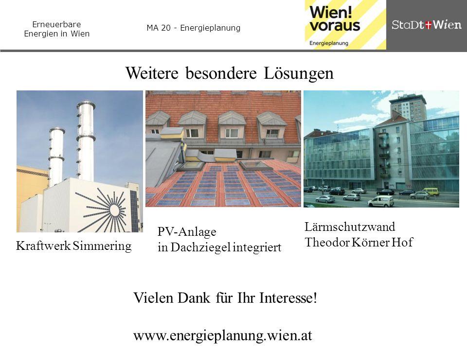Erneuerbare Energien in Wien MA 20 - Energieplanung Weitere besondere Lösungen Kraftwerk Simmering PV-Anlage in Dachziegel integriert Lärmschutzwand T