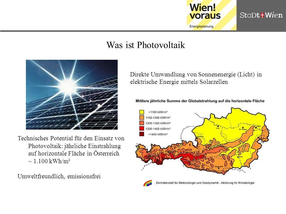 Was ist Photovoltaik Technisches Potential für den Einsatz von Photovoltaik: jährliche Einstrahlung auf horizontale Fläche in Österreich ~ 1.100 kWh/m