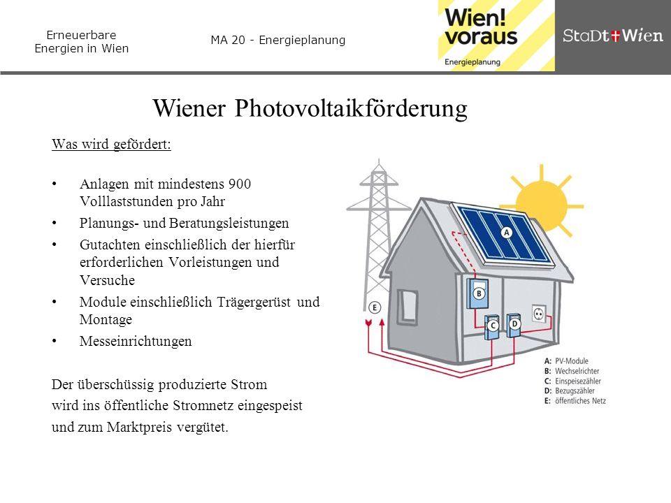 Erneuerbare Energien in Wien MA 20 - Energieplanung Wiener Photovoltaikförderung Was wird gefördert: Anlagen mit mindestens 900 Volllaststunden pro Ja