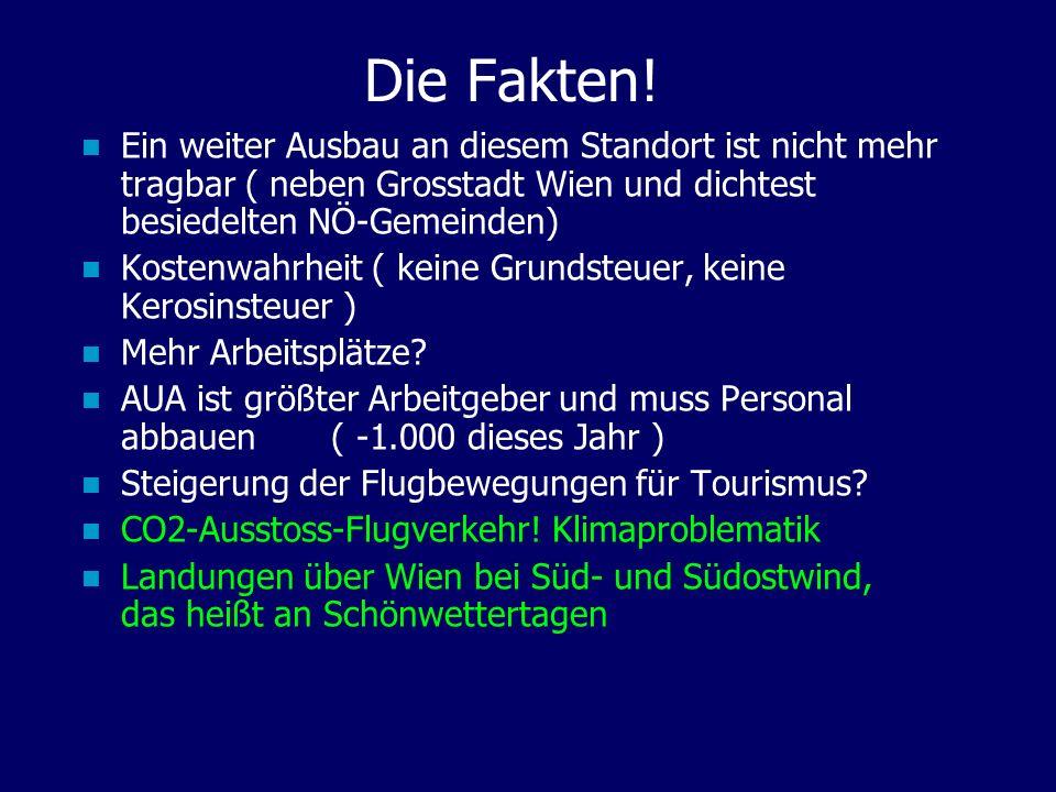 Die Fakten! Ein weiter Ausbau an diesem Standort ist nicht mehr tragbar ( neben Grosstadt Wien und dichtest besiedelten NÖ-Gemeinden) Kostenwahrheit (