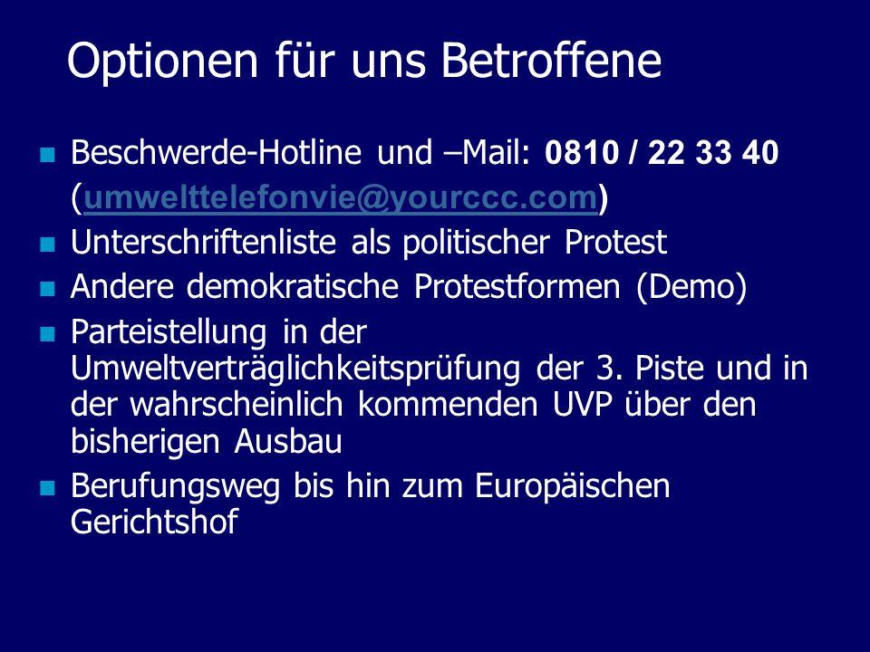 Optionen für uns Betroffene Beschwerde-Hotline und –Mail: 0810 / 22 33 40 ( umwelttelefonvie@yourccc.com) umwelttelefonvie@yourccc.com Unterschriftenl