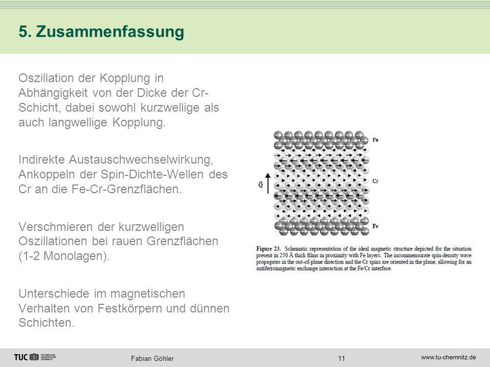 11Fabian Göhler 5. Zusammenfassung Oszillation der Kopplung in Abhängigkeit von der Dicke der Cr- Schicht, dabei sowohl kurzwellige als auch langwelli