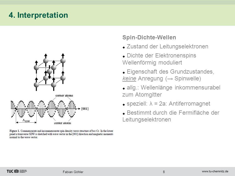 8Fabian Göhler 4. Interpretation Spin-Dichte-Wellen Zustand der Leitungselektronen Dichte der Elektronenspins Wellenförmig moduliert Eigenschaft des G