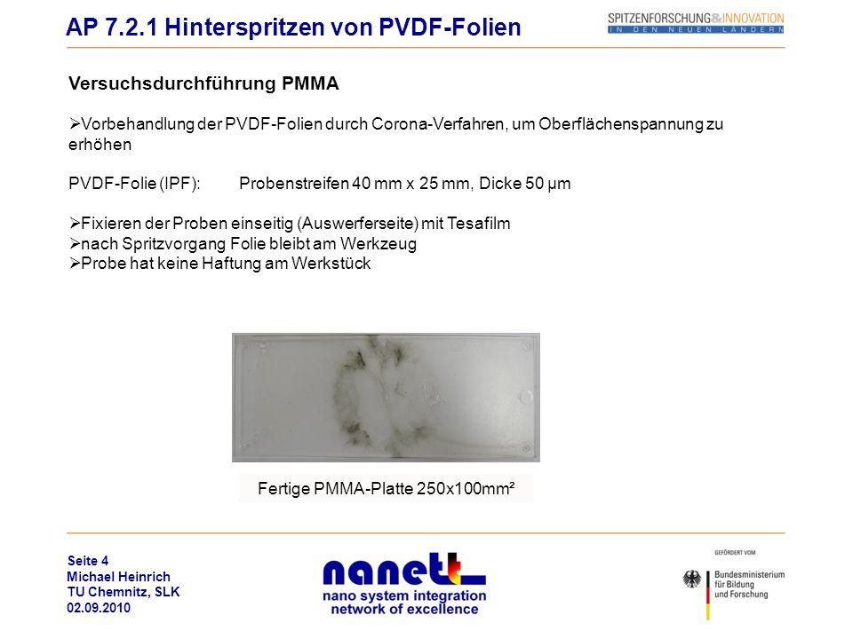 Seite 5 Michael Heinrich TU Chemnitz, SLK 02.09.2010 Versuchsdurchführung PA6 30%Ruß Vorbehandlung der PVDF-Folien durch Corona-Verfahren, um Oberflächenspannung zu erhöhen PVDF-Folie (IPF):Probenstreifen 40 mm x 25 mm, Dicke 50 µm Fixieren der Proben einseitig (Auswerferseite) mit Tesafilm nach Spritzvorgang Folie geschmolzen und verschmiert am Werkstück Probe hat dennoch gute Haftung am Werkstück Probe in Wz AP 7.2.1 Hinterspritzen von PVDF-Folien TESA-FilmPVDF-Folie geschmolzen PA6-Bauteil + PVDF- Probe