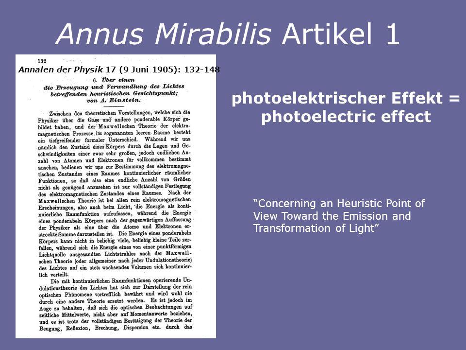 Concerning an Heuristic Point of View Toward the Emission and Transformation of Light photoelektrischer Effekt = photoelectric effect Annus Mirabilis Artikel 1 Annalen der Physik 17 (9 Juni 1905): 132-148