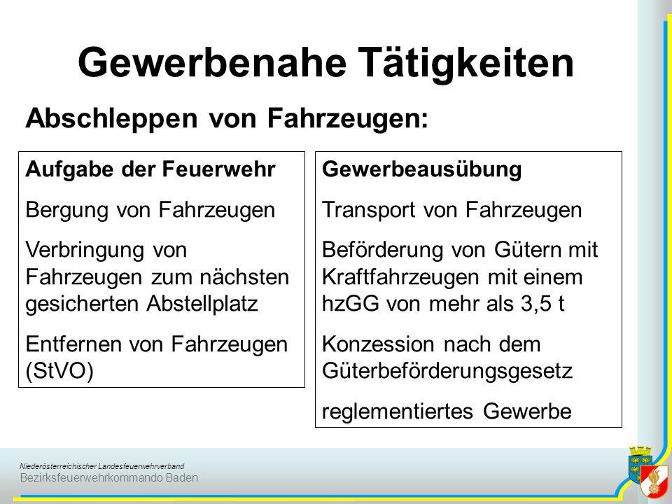 Niederösterreichischer Landesfeuerwehrverband Bezirksfeuerwehrkommando Baden Gewerbenahe Tätigkeiten Abschleppen von Fahrzeugen: Aufgabe der Feuerwehr