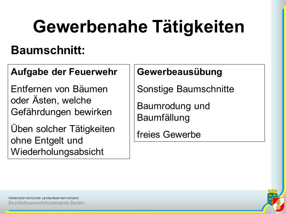 Niederösterreichischer Landesfeuerwehrverband Bezirksfeuerwehrkommando Baden Gewerbenahe Tätigkeiten Baumschnitt: Aufgabe der Feuerwehr Entfernen von