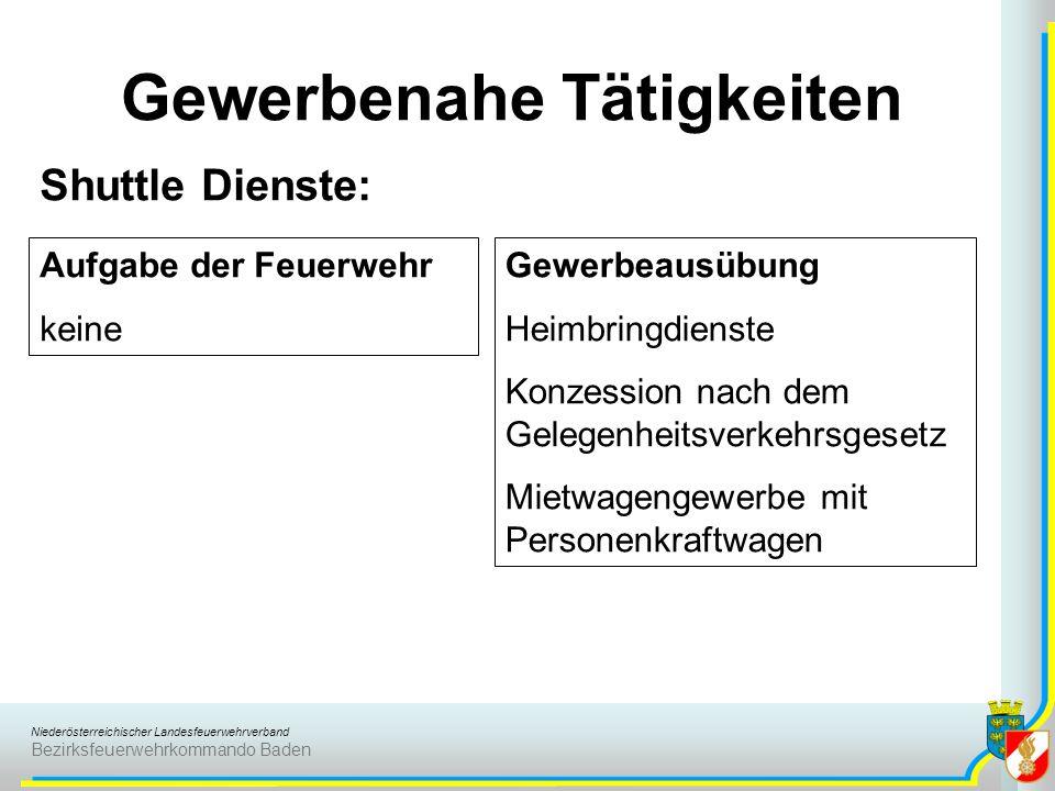 Niederösterreichischer Landesfeuerwehrverband Bezirksfeuerwehrkommando Baden Gewerbenahe Tätigkeiten Shuttle Dienste: Aufgabe der Feuerwehr keine Gewe