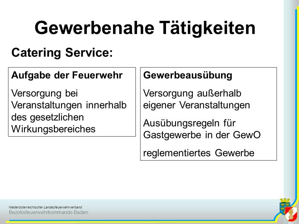 Niederösterreichischer Landesfeuerwehrverband Bezirksfeuerwehrkommando Baden Gewerbenahe Tätigkeiten Catering Service: Aufgabe der Feuerwehr Versorgun