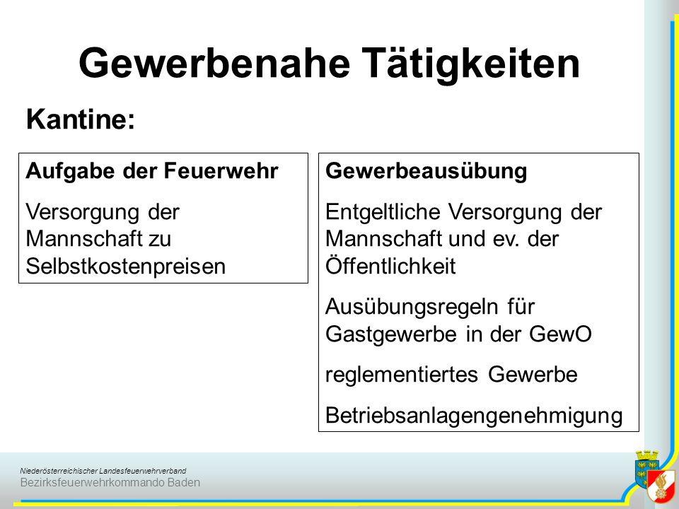 Niederösterreichischer Landesfeuerwehrverband Bezirksfeuerwehrkommando Baden Gewerbenahe Tätigkeiten Kantine: Aufgabe der Feuerwehr Versorgung der Man