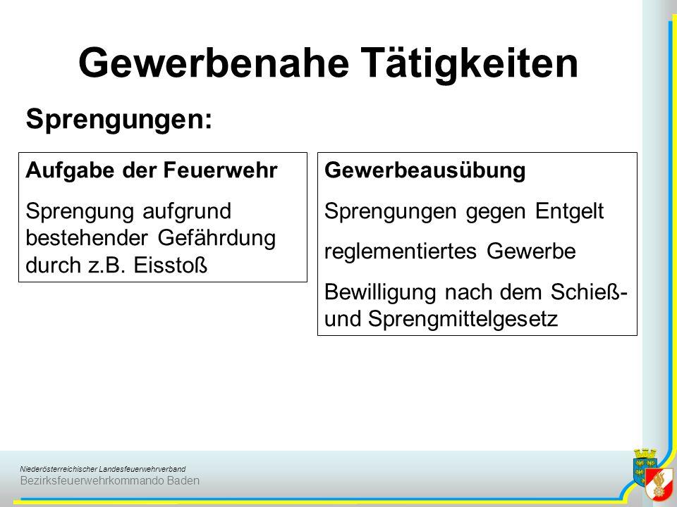 Niederösterreichischer Landesfeuerwehrverband Bezirksfeuerwehrkommando Baden Gewerbenahe Tätigkeiten Sprengungen: Aufgabe der Feuerwehr Sprengung aufg