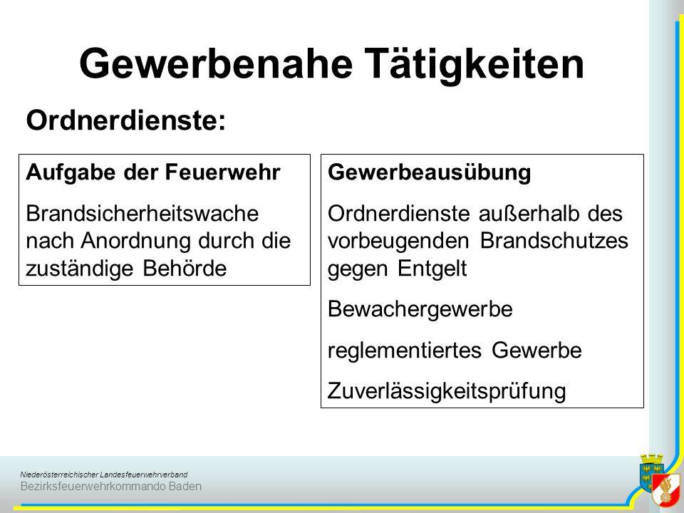 Niederösterreichischer Landesfeuerwehrverband Bezirksfeuerwehrkommando Baden Gewerbenahe Tätigkeiten Ordnerdienste: Aufgabe der Feuerwehr Brandsicherh
