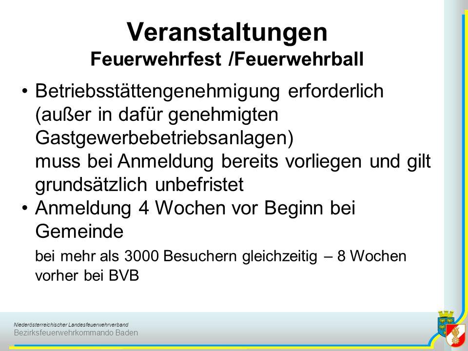 Niederösterreichischer Landesfeuerwehrverband Bezirksfeuerwehrkommando Baden Veranstaltungen Feuerwehrfest /Feuerwehrball Betriebsstättengenehmigung e