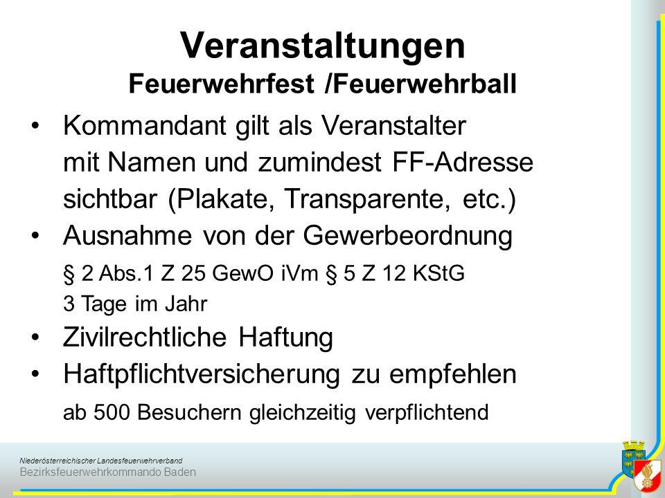 Niederösterreichischer Landesfeuerwehrverband Bezirksfeuerwehrkommando Baden Veranstaltungen Feuerwehrfest /Feuerwehrball Kommandant gilt als Veransta