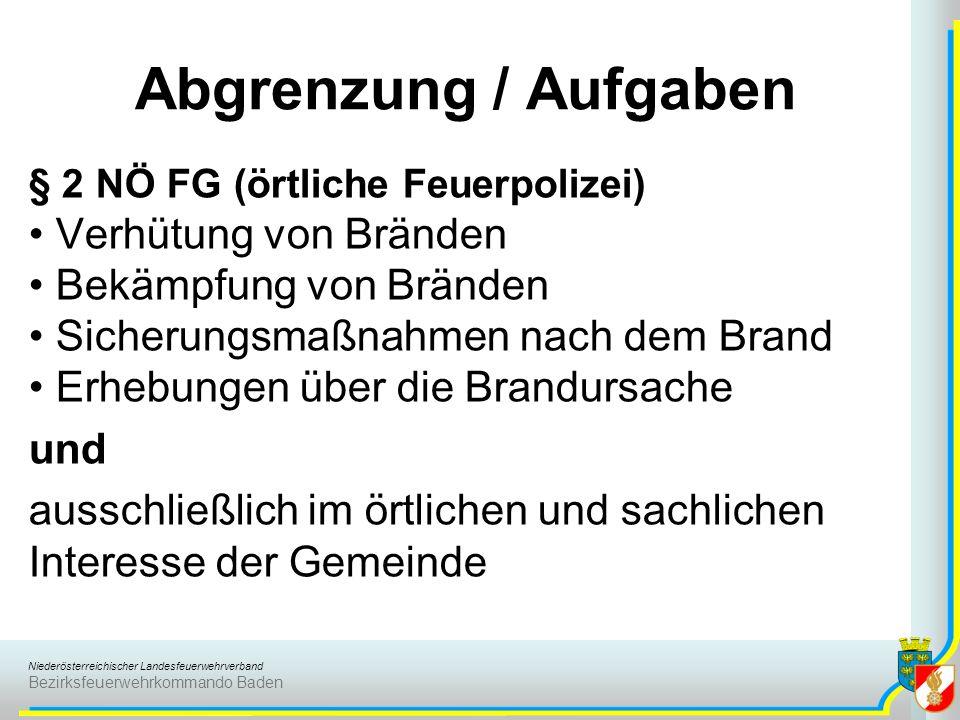 Niederösterreichischer Landesfeuerwehrverband Bezirksfeuerwehrkommando Baden Abgrenzung / Aufgaben § 2 NÖ FG (örtliche Feuerpolizei) Verhütung von Brä