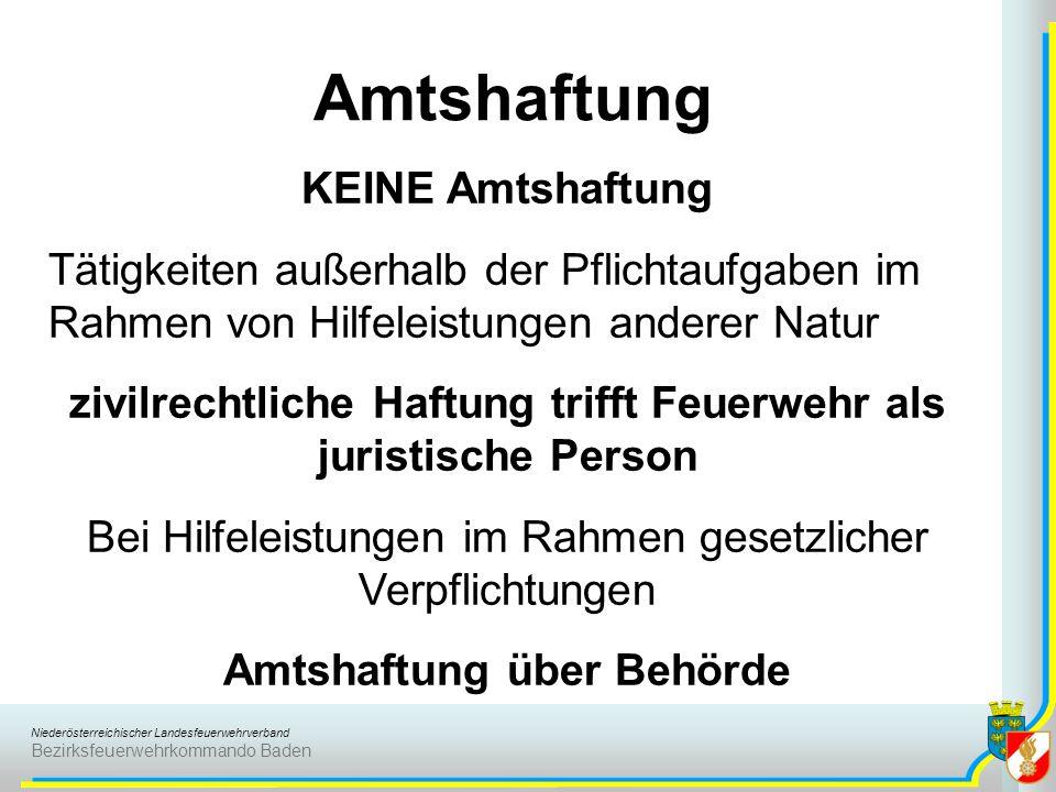 Niederösterreichischer Landesfeuerwehrverband Bezirksfeuerwehrkommando Baden Amtshaftung KEINE Amtshaftung Tätigkeiten außerhalb der Pflichtaufgaben i
