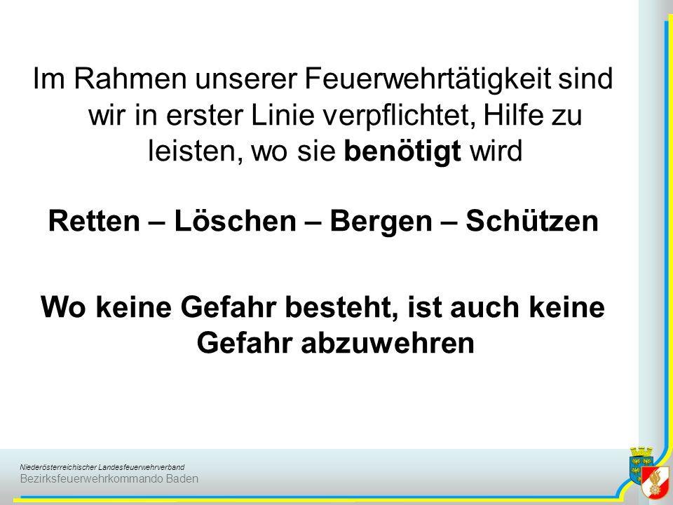 Niederösterreichischer Landesfeuerwehrverband Bezirksfeuerwehrkommando Baden Im Rahmen unserer Feuerwehrtätigkeit sind wir in erster Linie verpflichte