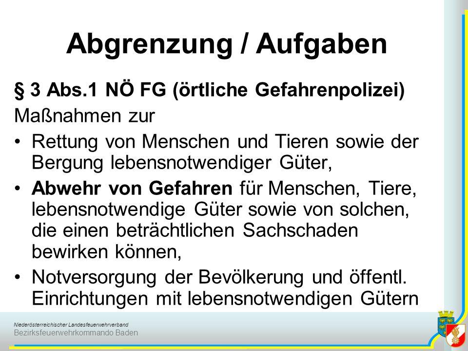 Niederösterreichischer Landesfeuerwehrverband Bezirksfeuerwehrkommando Baden § 3 Abs.1 NÖ FG (örtliche Gefahrenpolizei) Maßnahmen zur Rettung von Mens