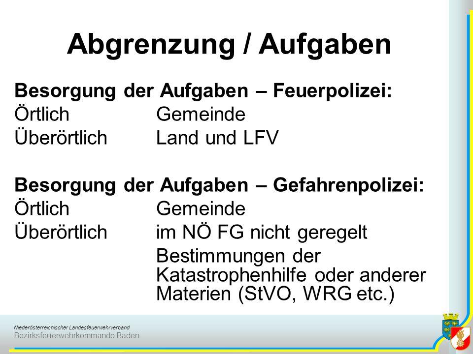 Niederösterreichischer Landesfeuerwehrverband Bezirksfeuerwehrkommando Baden Besorgung der Aufgaben – Feuerpolizei: ÖrtlichGemeinde ÜberörtlichLand un