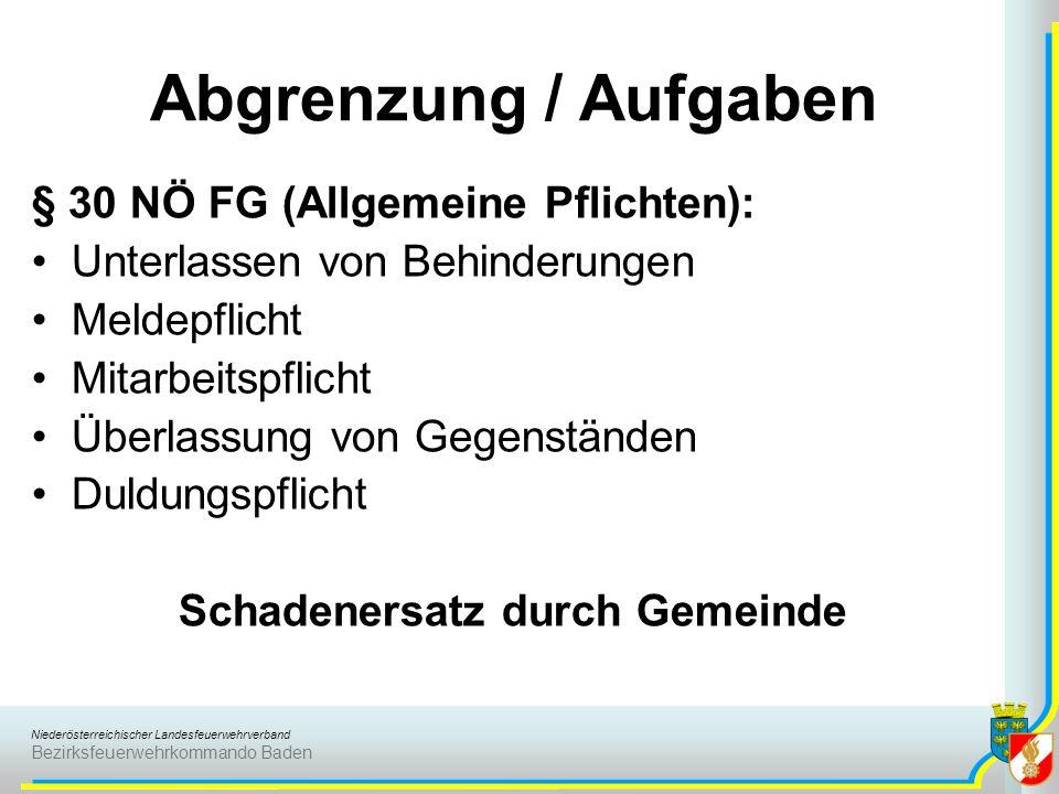 Niederösterreichischer Landesfeuerwehrverband Bezirksfeuerwehrkommando Baden § 30 NÖ FG (Allgemeine Pflichten): Unterlassen von Behinderungen Meldepfl