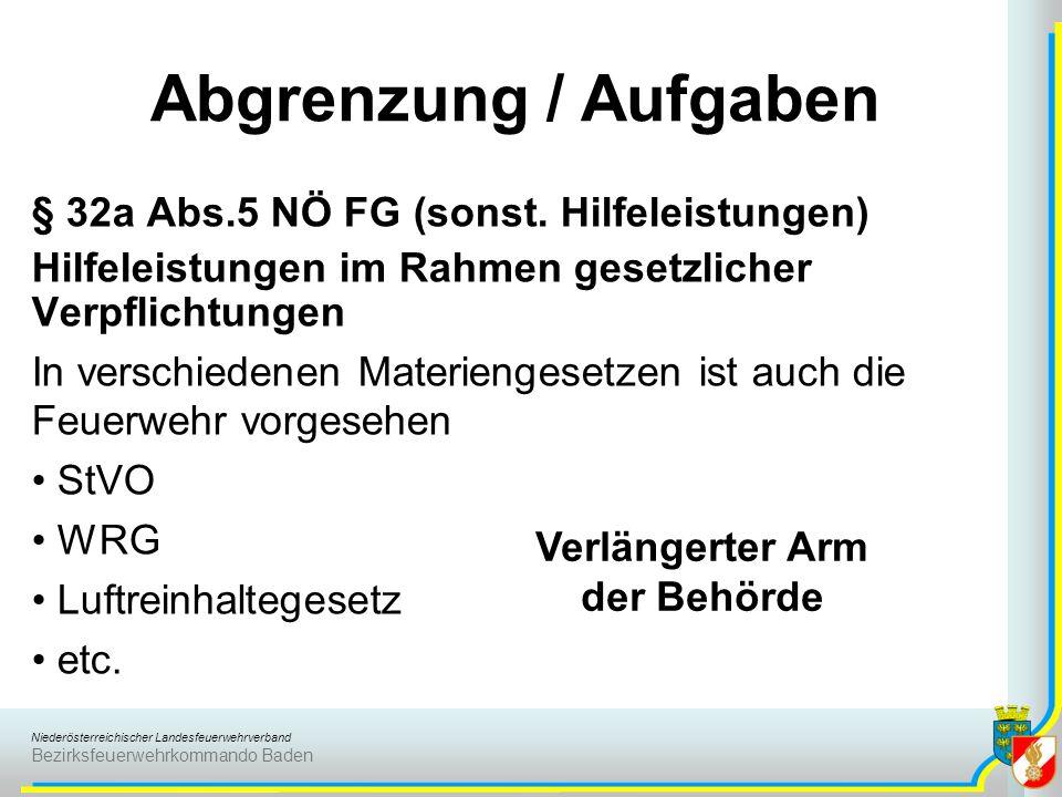 Niederösterreichischer Landesfeuerwehrverband Bezirksfeuerwehrkommando Baden § 32a Abs.5 NÖ FG (sonst. Hilfeleistungen) Hilfeleistungen im Rahmen gese