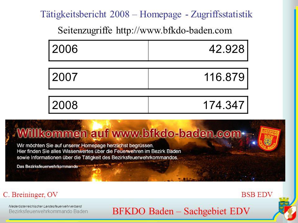 Niederösterreichischer Landesfeuerwehrverband Bezirksfeuerwehrkommando Baden BFKDO Baden – Sachgebiet EDV C. Breininger, OV BSB EDV Tätigkeitsbericht